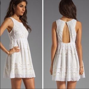 FREE PEOPLE white lace dress with yellow liner